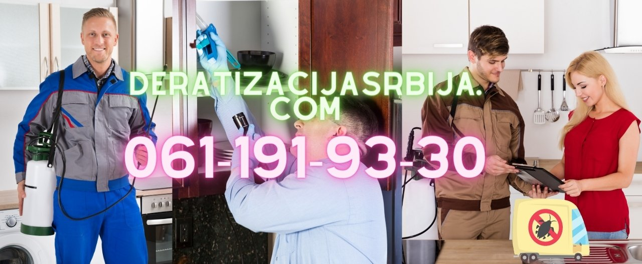 Deratizacija stanova,kuća i lokala u Beogradu,Novom Sadu,Vojvodini i ostalim mestima po dogovoru.Slanje paketa za samostalnu dezinsekciju,deratizaciju i dezinfekciju sa pismenom garancijom.Regulacija bubašvaba,mrava,krevetnih stenica,komaraca,buva od pasa,buva od mačaka.Sanitarni inženjering lokala,firmi,salona,trgovina,restorana kao i svih državnih institucija i firmi.Decenijsko iskustvo sa preko 12+ godina rada i preko 7000+ klijenata do sada.Radimo i u državama EU kao sertifikovani podizvođači po pozivu i dogovoru.